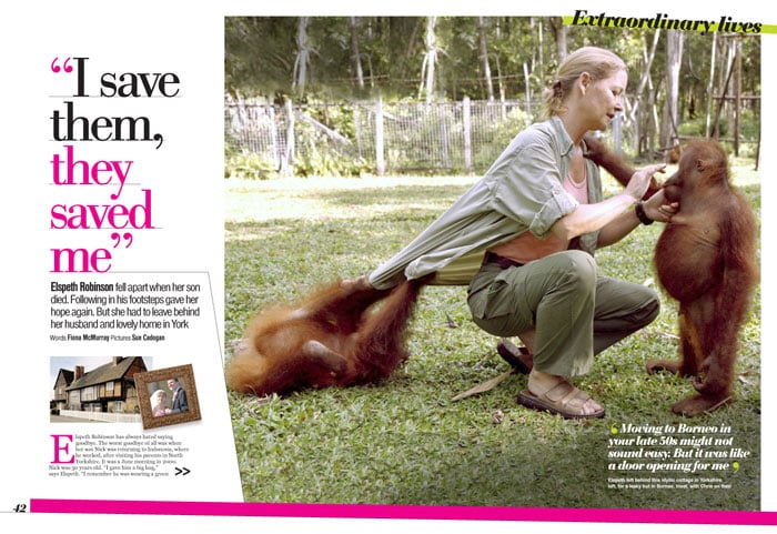 Women with ape magazine layout