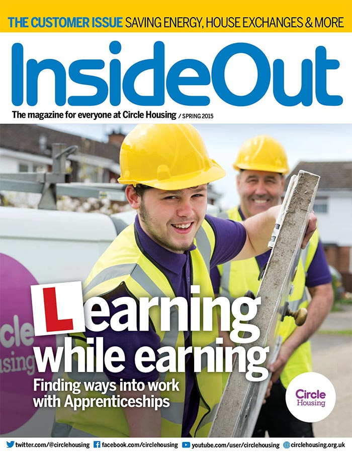 Builders with hard hats on Inside Out cover