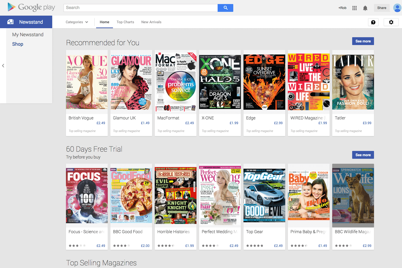 lots of google newsstand magazines in a row