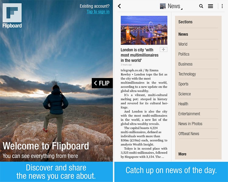 Flipboard looks good, but is constrained visually