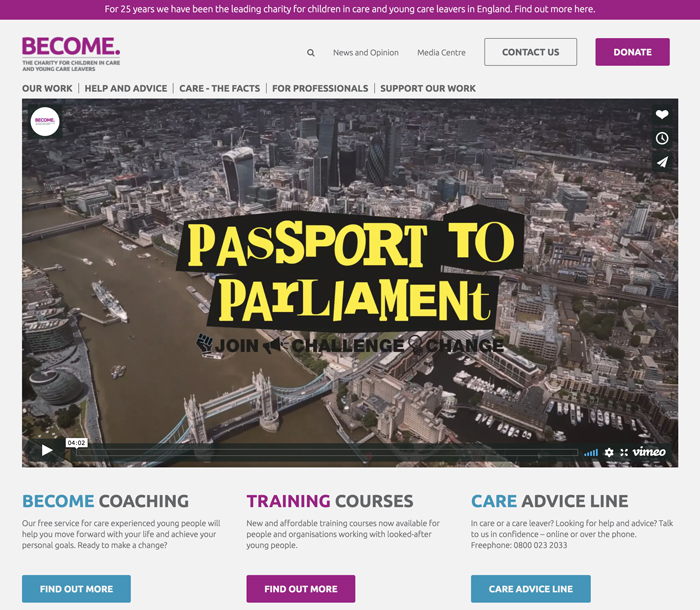 Become homepage with Passport to Parliament logo