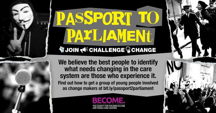 Passport to Parliament flyer on black background