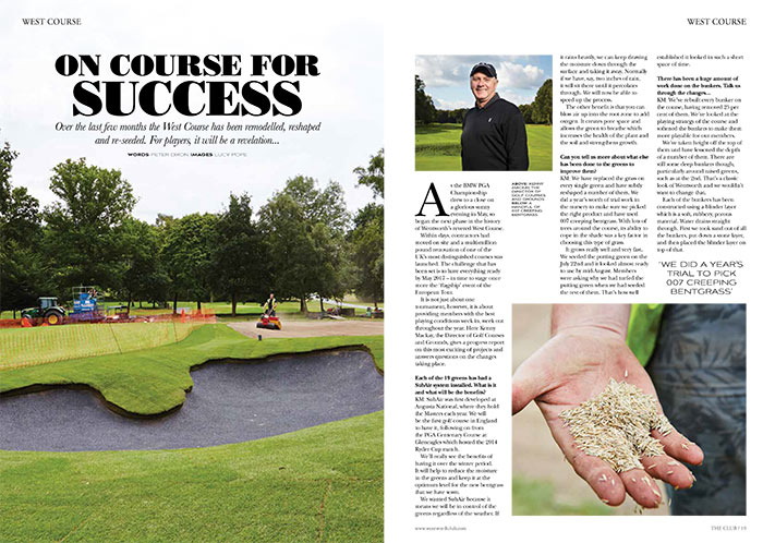 Magazine layout of Wentworth West Course grass