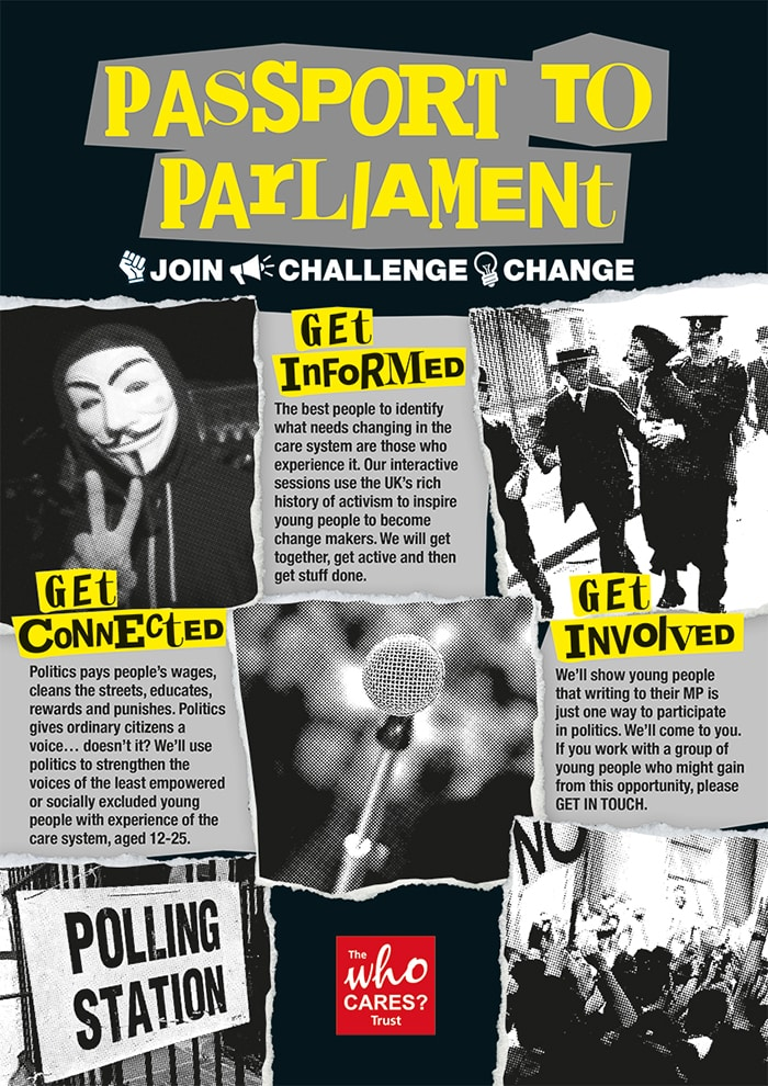Passport to Parliament poster with black background
