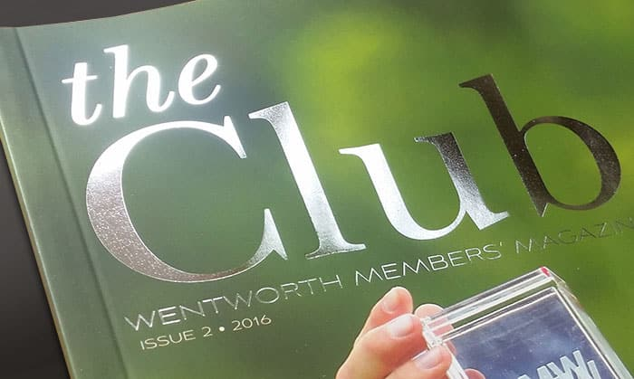 Detail of Reflective silver masthead printed on magazine cover
