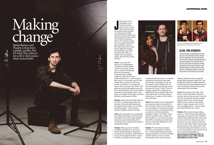 Essex Effect interview spread