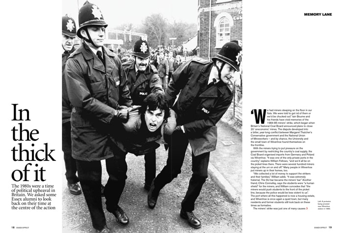 Essex Effect miners strike layout in black and white