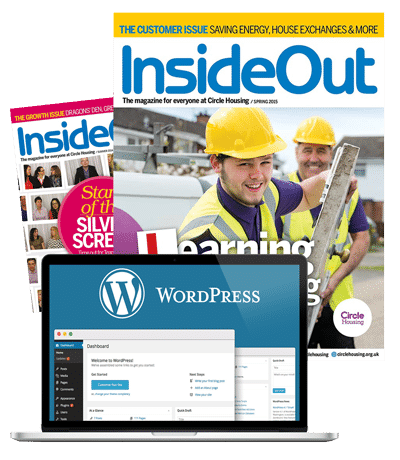 Inside Out Magazine cover and blank WordPress website