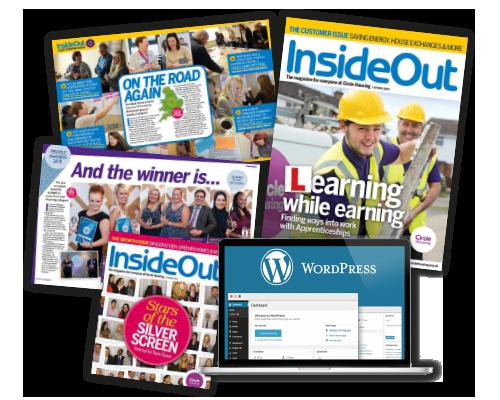magazine pile and wordpress website screen