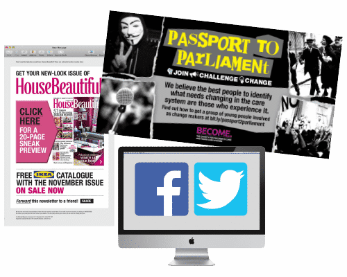 Social media website, flyer and newsletter