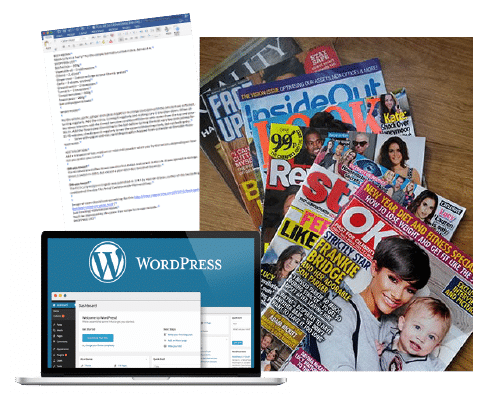 Pile of magazines, wordpress website, and microsoft word layout
