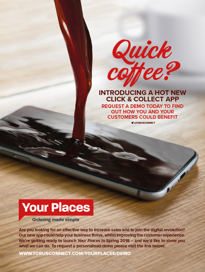 Advert pouring coffee onto phone for Your Places App