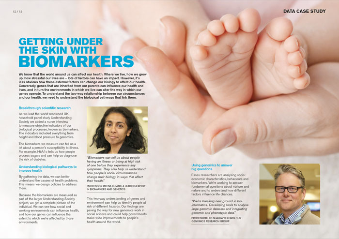 Brochure layout with full bleed image of baby's feet