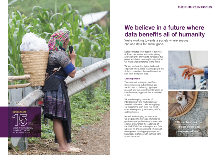 University of Essex Data brochure spread big picture