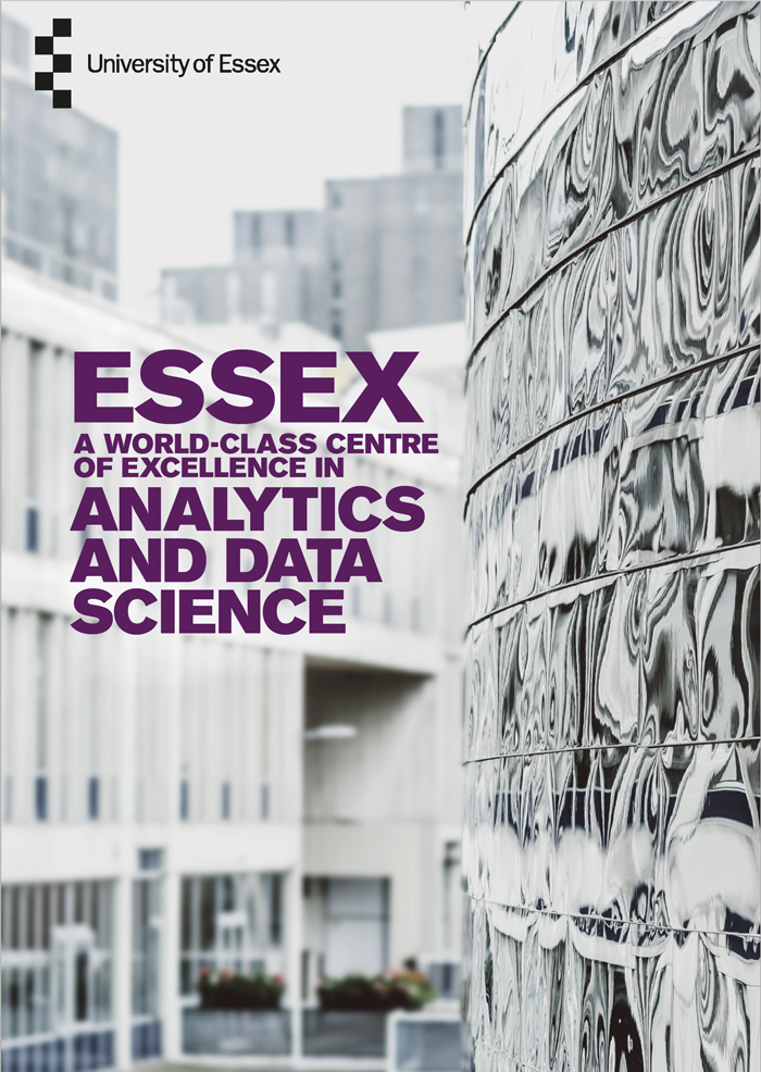 University of Essex brochure cover with modern mirrored building