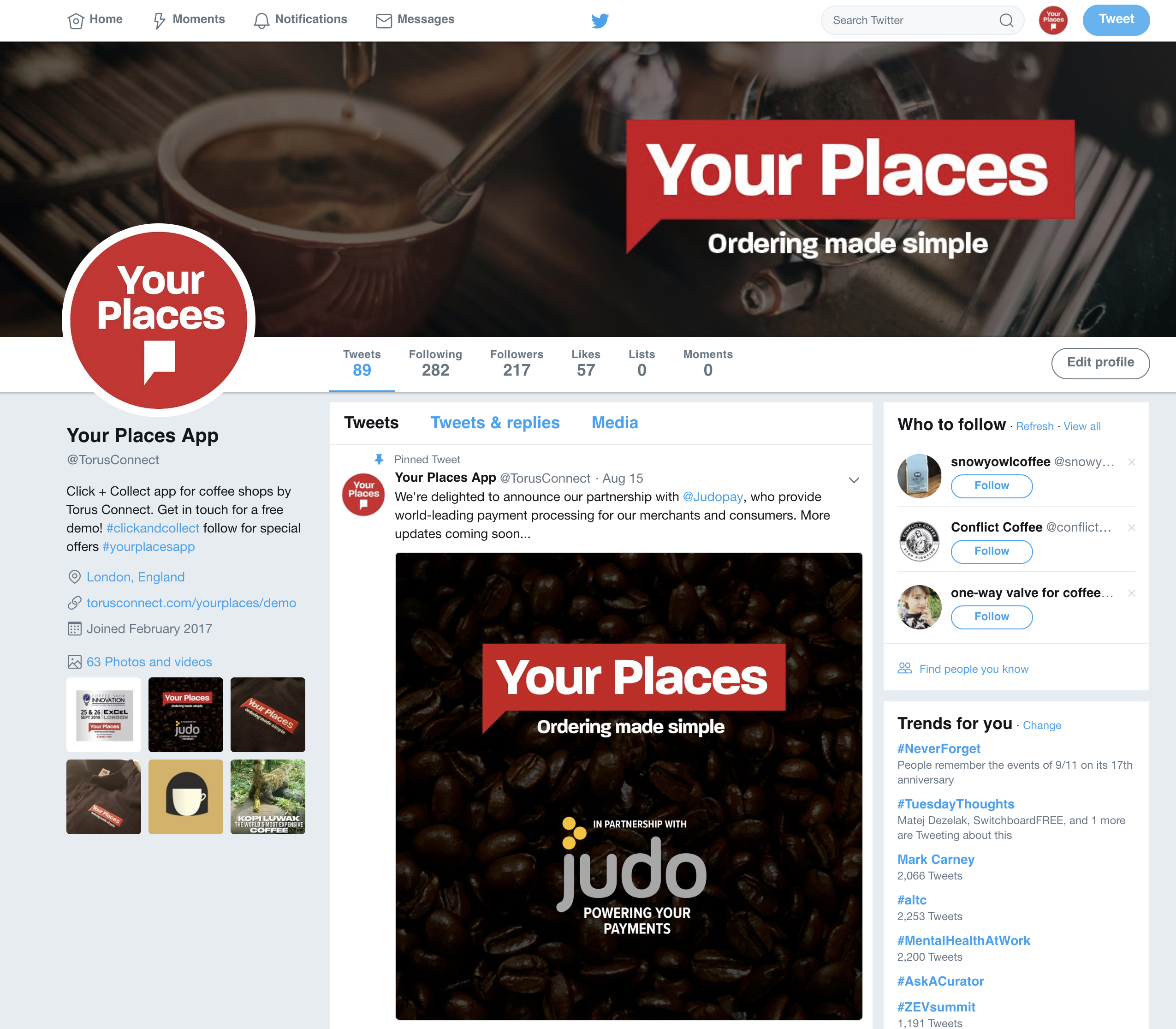 Example of multi brand twitter page