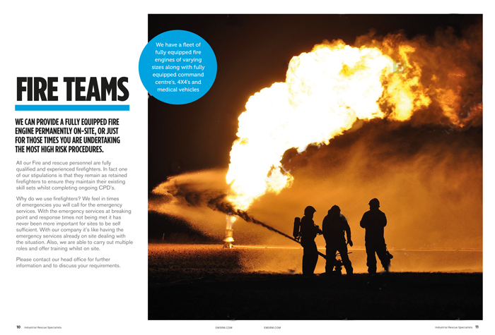 Putting out large fire brochure