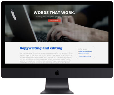 Copywriting and Editing Homepage on Computer Screen