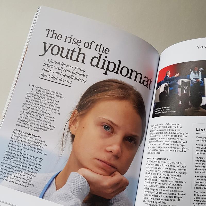 Open Chevening Magazine Spread with Greta Thunberg Face