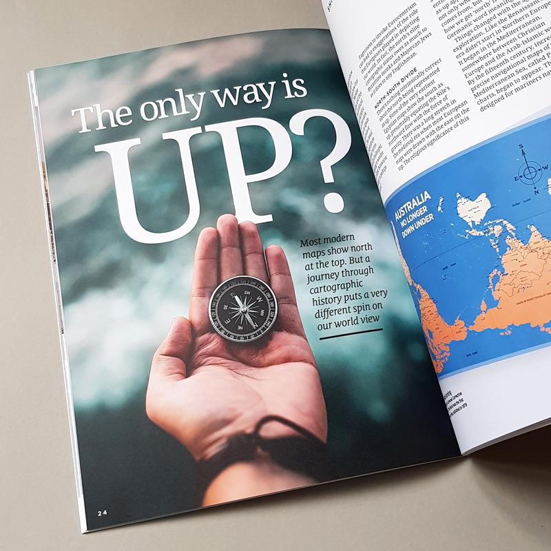 Chevening Magazine Spread holding compass